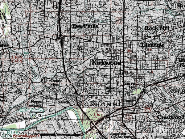 Zip code 63122 topographic map