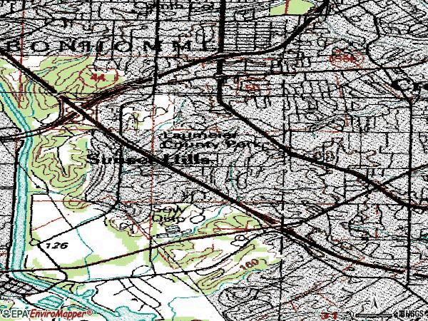 Zip code 63127 topographic map