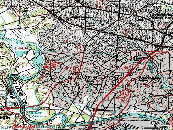 Zip code 63128 topographic map