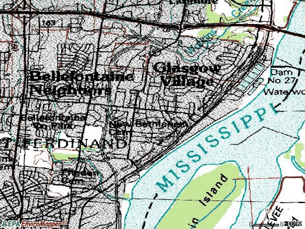 Zip code 63137 topographic map