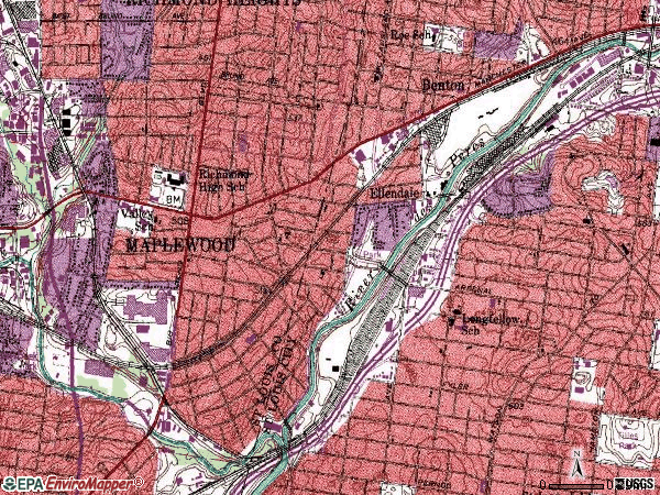 Zip code 63143 topographic map