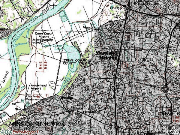 Zip code 63146 topographic map