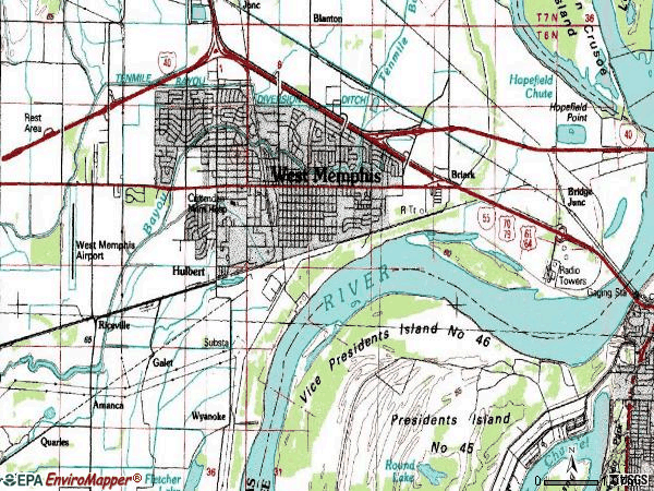 Zip code 72301 topographic map