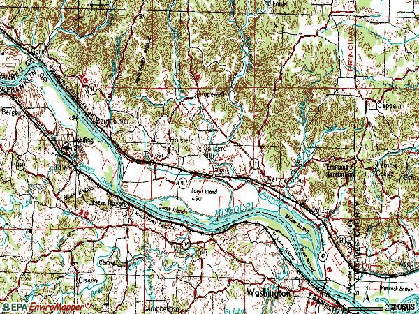 Zip code 63357 topographic map
