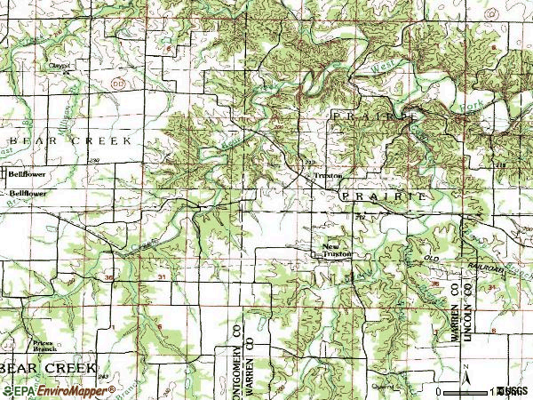 Zip code 63381 topographic map