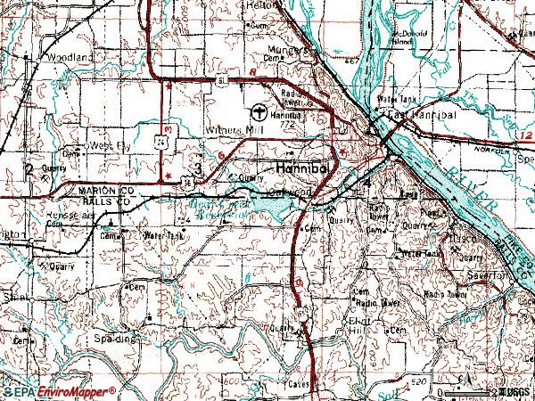 Zip code 63401 topographic map