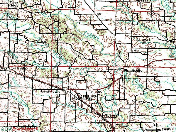 Zip code 63452 topographic map