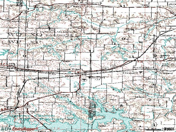 Zip code 63456 topographic map