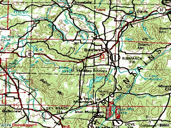 Zip code 63624 topographic map