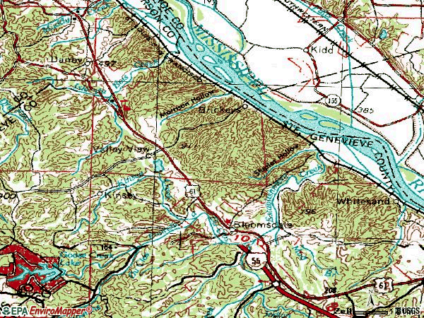Zip code 63627 topographic map