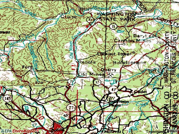 Zip code 63630 topographic map