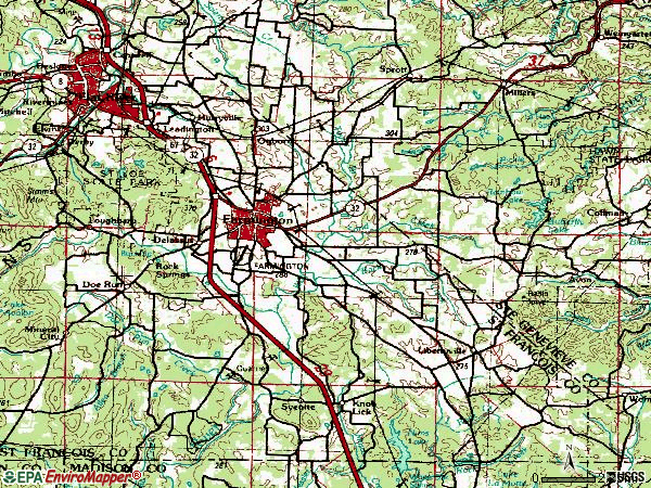 Zip code 63640 topographic map