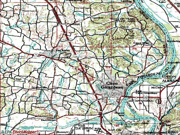 Zip code 63701 topographic map