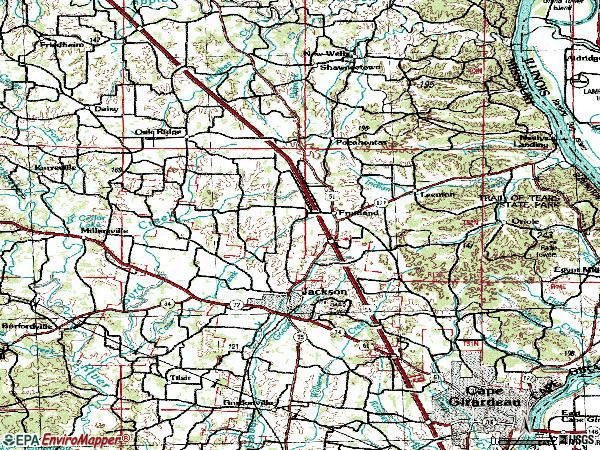 Zip code 63755 topographic map
