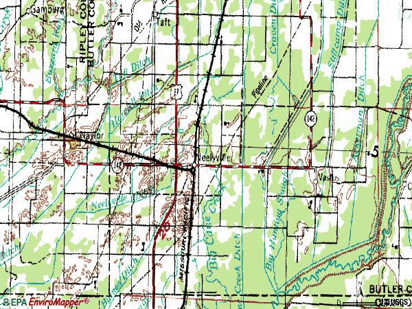 Zip code 63954 topographic map