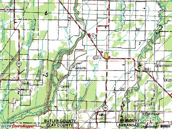 Zip code 63961 topographic map