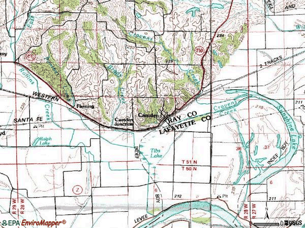 Zip code 64017 topographic map