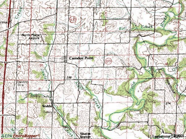 Zip code 64018 topographic map