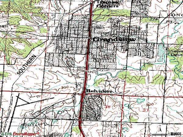 Zip code 64030 topographic map