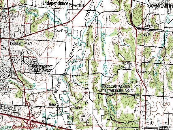 Zip code 64057 topographic map