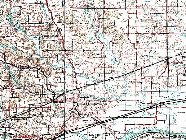 Zip code 64085 topographic map