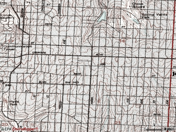 Zip code 64109 topographic map