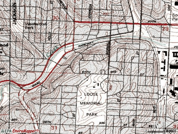 Zip code 64112 topographic map
