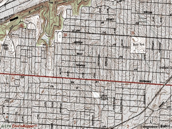 Zip code 64124 topographic map