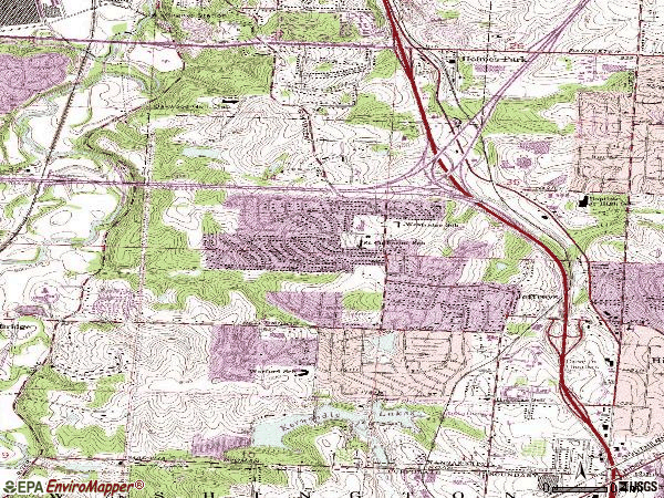 Zip code 64137 topographic map
