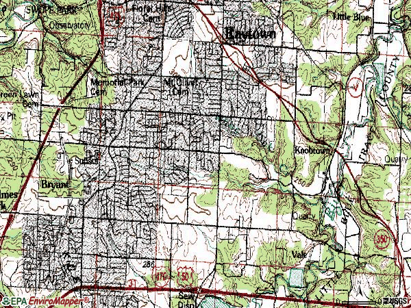 Zip code 64138 topographic map