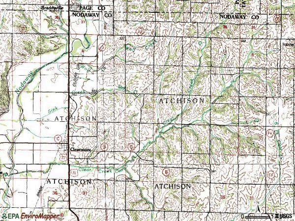 Zip code 64431 topographic map