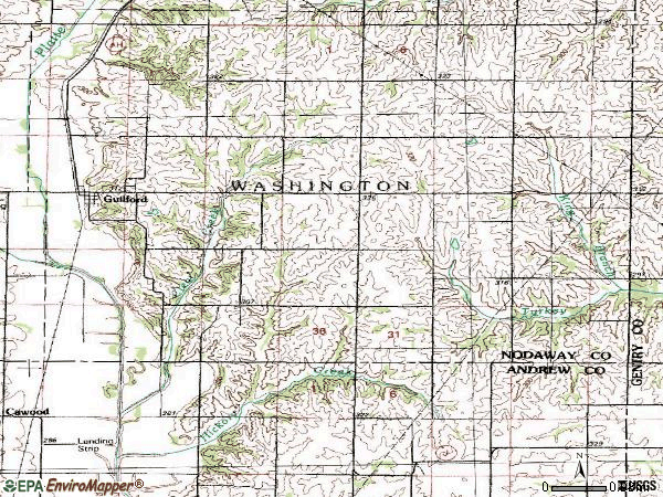 Zip code 64457 topographic map