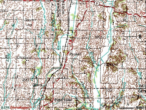 Zip code 64475 topographic map
