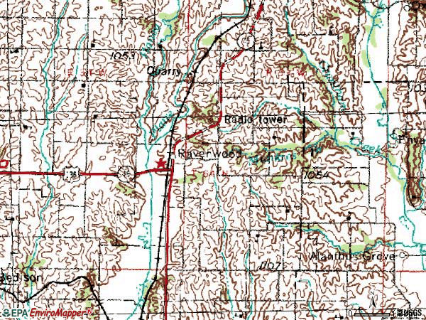 Zip code 64479 topographic map
