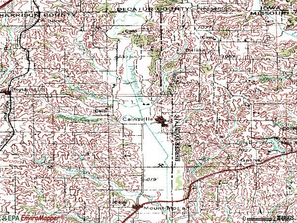 Zip code 64632 topographic map