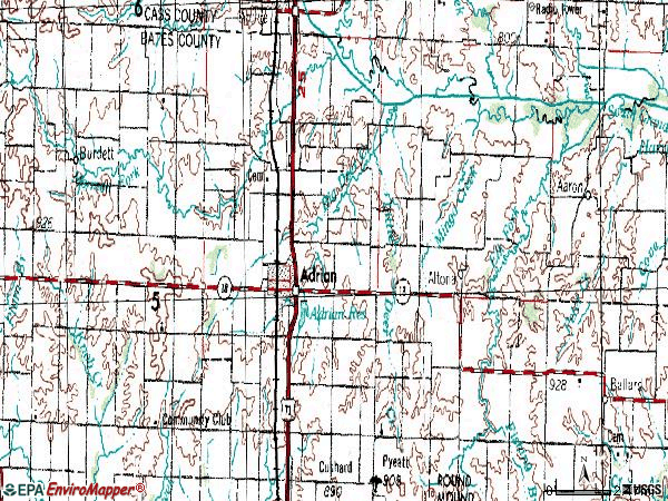 Zip code 64720 topographic map