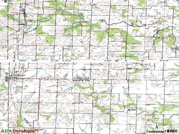 Zip code 64742 topographic map