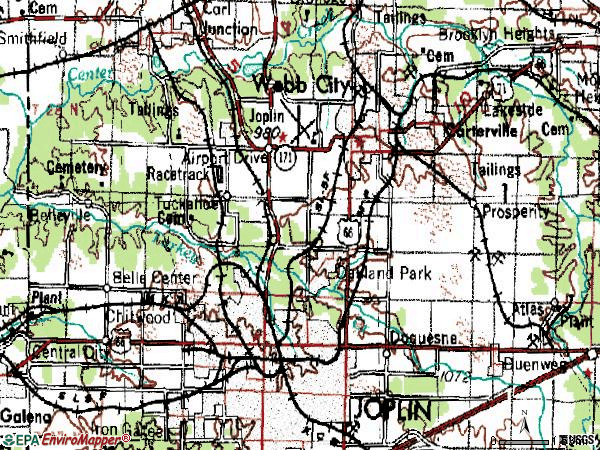 Zip code 64801 topographic map