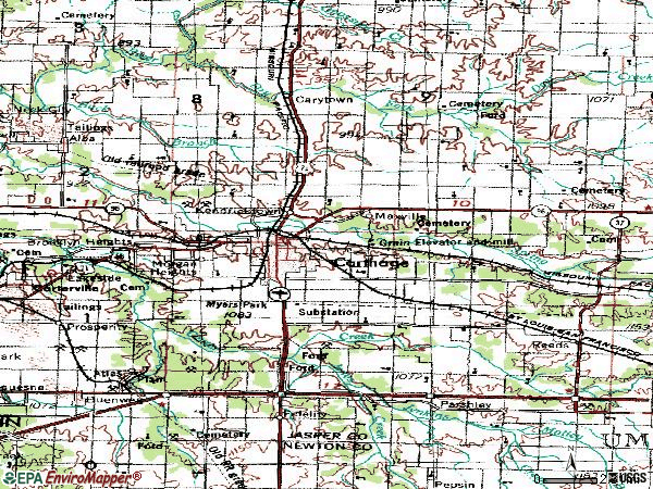 Zip code 64836 topographic map