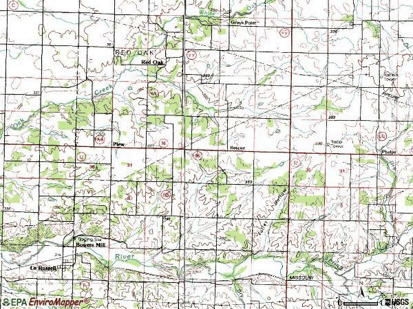 Zip code 64848 topographic map
