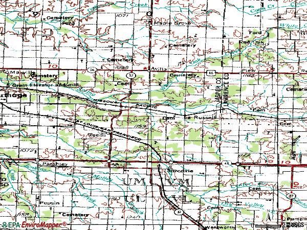 Zip code 64862 topographic map
