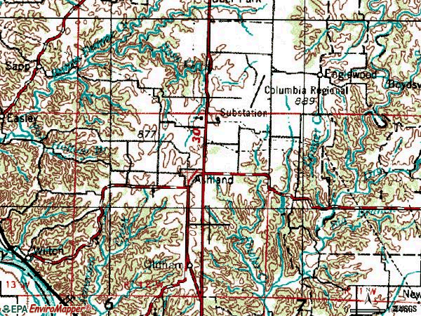 Zip code 65010 topographic map