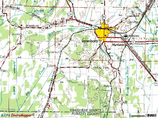 Zip code 72404 topographic map