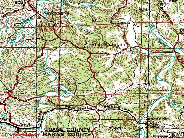 Zip code 65035 topographic map