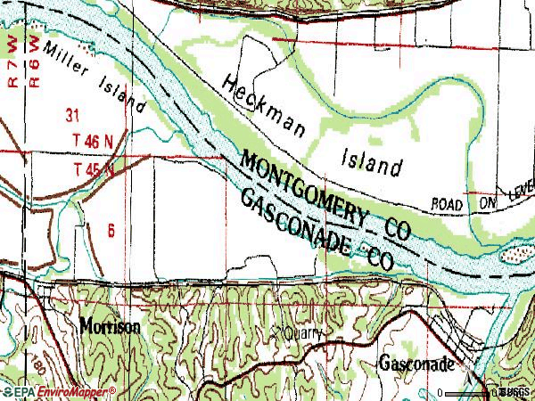 Zip code 65036 topographic map