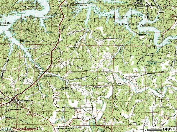 Zip code 65052 topographic map
