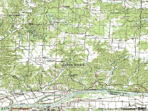 Zip code 65067 topographic map