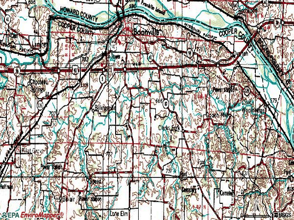 Zip code 65233 topographic map