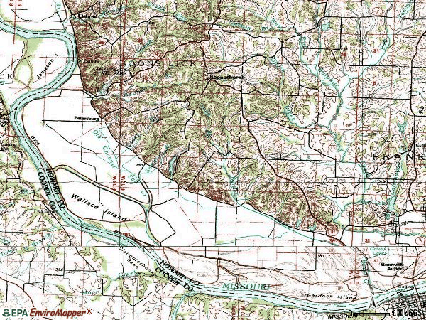 Zip code 65250 topographic map