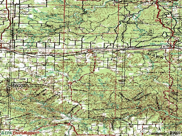 Zip code 65438 topographic map